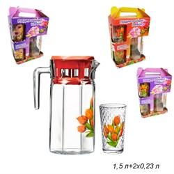 Питьевой набор 3 предмета(кувшин 1,25 л+2 стакан)Ц - фото 10766