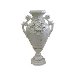 Ваза Иллюзия белая лепка напольная 30х30х66 см - фото 11842