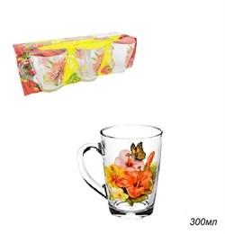 Кружка 1334 Цветы микс 300 мл набор 6 штук - фото 12130