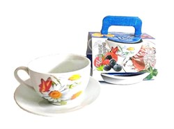 Чайная пара 2 предмета 220 мл Цветы в подарочн.уп. - фото 12973