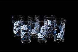 Стакан Бабочка голубая шелкография набор 6 штук - фото 13187