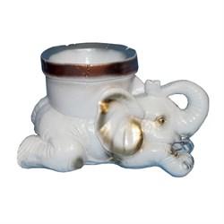 Вазон для цветов Слон белый с золотом 17х30 см - фото 13353