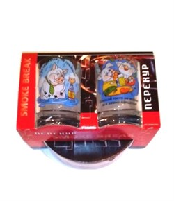 Подарочный набор Свинки (пепельница+2 стопки) - фото 13810