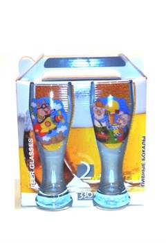 Бокал для пива 42116 330 мл/2 шт/Свинки микс Чемод - фото 13811