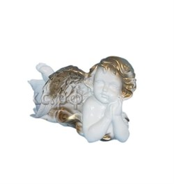 Ангел лежащий бело-золотой №2/1х8/18х17х32 см - фото 15379