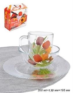 Набор 3 предмета Цветы (кружка+салатник+тарелка) - фото 17132