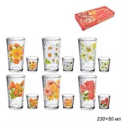 Набор 12 предметов Цветы микс (6 стаканов+6 стопок - фото 18673