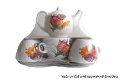Чайный сервиз 13 предметов Цветы (чайник 0,6 л) - фото 21912