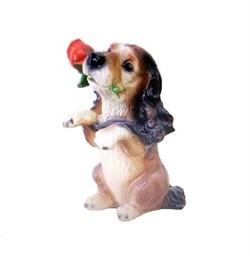 Копилка Собака с розой 10х18х24 см - фото 23613