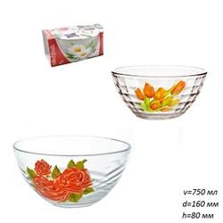 Салатник 1425, 1447 Цветы микс в подарке d=160 мм - фото 25058