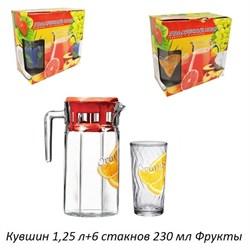 Питьевой набор 7предметов кувшин 1,25 л+6 стакан Ф - фото 25206