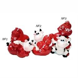 Копилка Корова сердце малая микс 7170  8,5х7х8 см - фото 26742