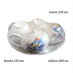 Набор 8 предметов Цветы (Чайник 0,6л +6 пиал+блюдо - фото 28156