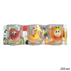 Стакан Веселые фрукты низкий 250 мл набор 6 штук - фото 28318