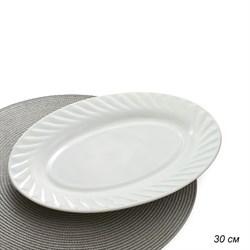 Блюдо овальное 30 см белое/уп.24/стеклокерамика - фото 4488