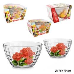 Салатники 3 штуки Цветы микс d=190 мм-1, 160 мм-2 - фото 4976