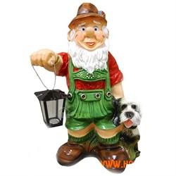 Гном с фонарем и собакой Фасад 71х26 см - фото 5087