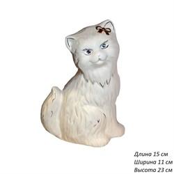 Копилка Кошка Сима белая глазурь 15х11х23 см - фото 5823
