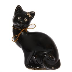 Копилка Кошка Шарлота черная глазурь 15х10х24 см - фото 5826