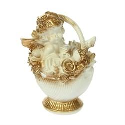 Ангел в корзине золото 13х9х8 см - фото 5946