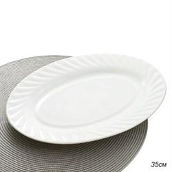 Блюдо овальное 35 см белое/уп.24/стеклокерамика - фото 6158