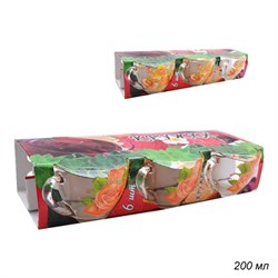 Кружка 1416 Цветы микс 200 мл d=92, h=66 мм 6 штук - фото 6227