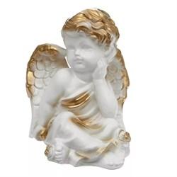 Ангел думающий с розой бело-золото/1х20/16х15х19см - фото 6813