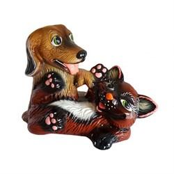 Копилка Собака с котом глянец/1х10/ - фото 7735