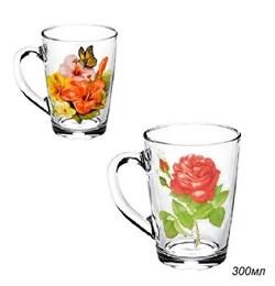 Кружка 1334 Цветы микс 300 мл в гофре /1х20/ - фото 8858