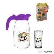 Питьевой набор 3 предм(кувшин 1,7 л+2 стак)Буренка