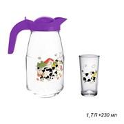 Питьевой набор 7предметов Буренка(кувшин 1,7л+6 ст
