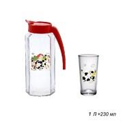 Питьевой набор 7предметов Буренка кувшин 1 л+6 ст