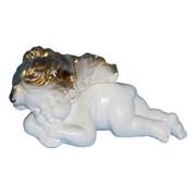 Ангел девочка лежит бело-золотой/1х25/19х9х10 см