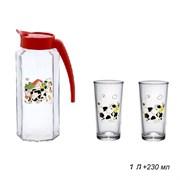 Питьевой набор 3 предмета кувшин 1л+2 стак Буренка