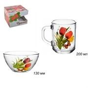 Набор 2 предмета Цветы (кружка+салатник) в подарке