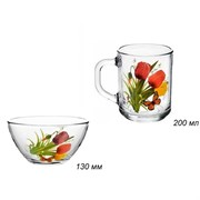 Набор 2 предмета Цветы (кружка+салатник) в пленке