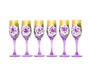 Бокал Шампань глянец Роспись набор 6 штук 190 мл