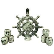 Винный набор Штурвал Компас малахит 1 л 8х31х30 см