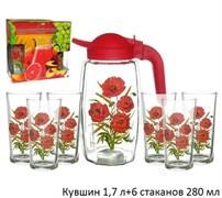 Питьевой набор 7 предметов кувшин 1,7л+6 ст.280 мл