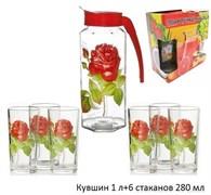 Питьевой набор 7 предметов кувшин 1л+6 стак.280 мл