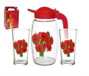 Питьевой набор 3 пред кувшин 1,7 л+2 стакана 280 Ц