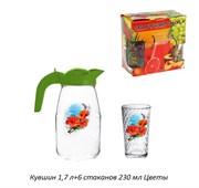 Питьевой набор 7предметов кувшин 1,7 л+6 стакан Ц