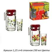 Питьевой набор 7предметов кувшин 1,25 л+6 стакан Ц