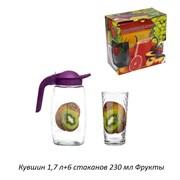 Питьевой набор 7предметов кувшин 1,7 л+6 стакан Ф