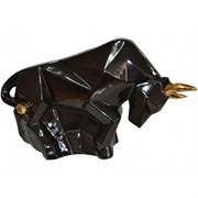 Копилка Бык оригами черный с золотом 18х30х10 см
