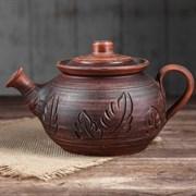 Чайник 1 л глазурованный красная глина /1х10/