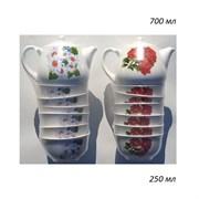 Набор 7 предметов Цветы микс (Чайник 0,7 л+6 пиал)
