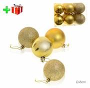 Елочные шары 12 штук 6 см золотые + ПОДАРОК HX-13