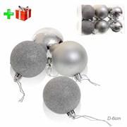 Елочные шары 12 штук 6 см серебро + ПОДАРОК HX-13
