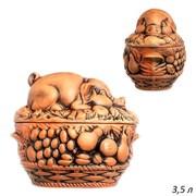 Жаровня Свинка Пикник 3,5 л 20х28х18 см крас.глина